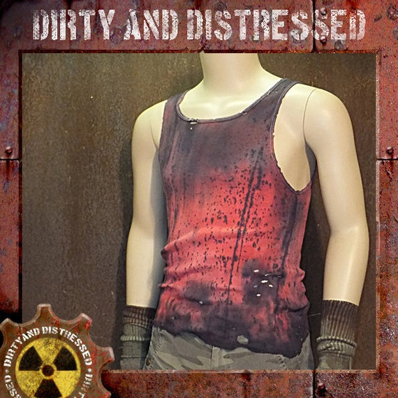 Dirty and Distressed Women's 2X Large/ Men's Extra Large Ruined and Red Wasteland Tank Top OOAK