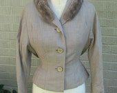 Jackie O Wool Crepe Taupe Skirt Suit Vintage 50s 60s