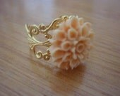 Gold Filigree Adjustable Ring with Light Peach Flower