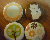 Woodland Friends Set of 4 Round Magnets
