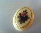 Cream Cameo Brooch Pin with Pink and Purple Roses
