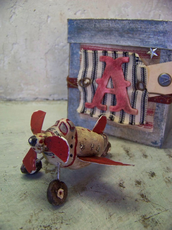 Vintage Sculpted Airplane Baby  Alphabet Block Mixed Media and assemblaged  Folk Art