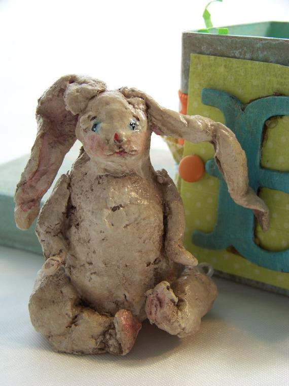 Sculpted Paper Mache Bunny Folk Art Vintage Alphabet Box
