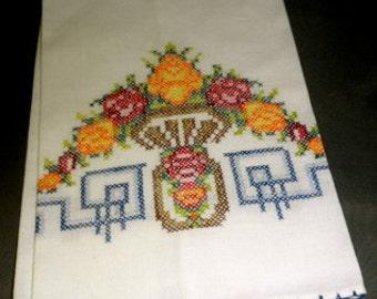 vintage hand embroidered tea towel dish