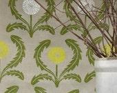 Dandelion hand block printed linen tea towel on warm gray kitchen decor