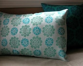 Aquamarine Water Lily hand block printed linen home decor colorful botanical linen decorative pillow cover
