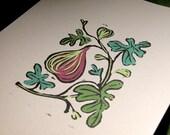 Fig original gardening art hand block print hand painted green purple botanical home decor