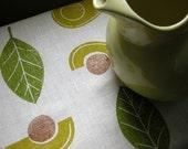 Avocado hand block printed cream olive green linen home decor table runner