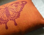 tangerine and plum butterfly decorative hand printed linen pillow case