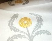 gray and yellow ochre on white dandelion hand block printed home decor linen napkins set of 4