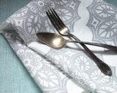 Pearl gray wedding lace medallion hand block printed on white linen table runner farmhouse wedding home decor