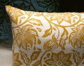 yellow ochre hand block printed  passion flower on white linen colorful decorative pillow case choice of size