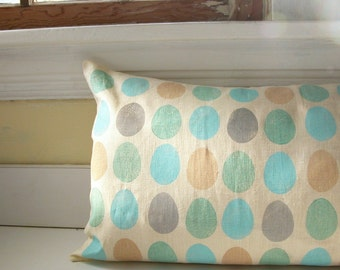 Hand block printed natural cream linen Wild Bird Egg spring home decor geometric decorative pillow cover