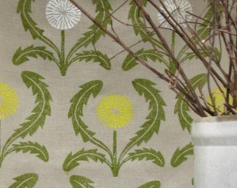 Dandelion hand block printed floral botanical linen tea towel on warm gray kitchen decor gift for gardener