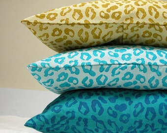 blue gold leopard print hand block printed linen decorative colorful home decor pillow case
