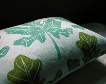 Fig Leaf aquamarine and olive green hand block printed on pale aqua linen botanical home decor decorative pillow cover