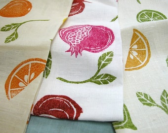 Mediterranean Fruit hand block printed linen tea towels hostess gift set of 3