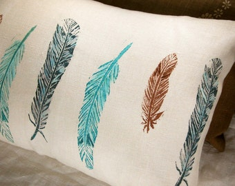 wild bird feathers hand block printed rustic spring home decor decorative linen pillow case