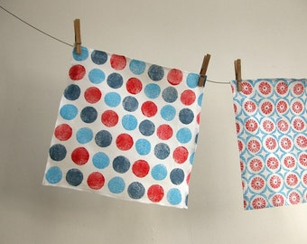 nautical brights chevron polka dot geometric red white blue hand block printed white linen handkerchief collection