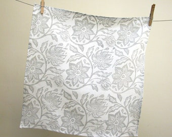 everyday gray on white passionflower hand block printed linen napkins kitchen home decor wedding hostess gift set of 4