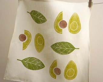 Avocado and olive green cream hand block printed linen retro modern botanical home decor housewarming hostess gift napkins set of 4