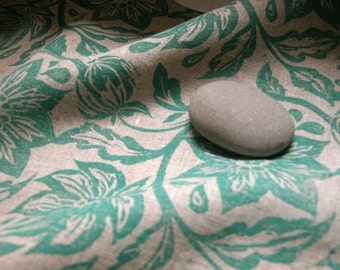 Aquamarine passion flower hand block printed on natural linen hand towel hostess gift for her