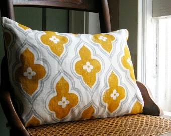 gray and yellow ochre ogee hand block printed on white linen decorative colorful lumbar pillow case