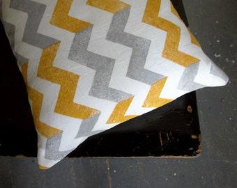 Yellow ochre mustard gray geometric chevron white linen pillow cover hand block printed decorative colorful home decor