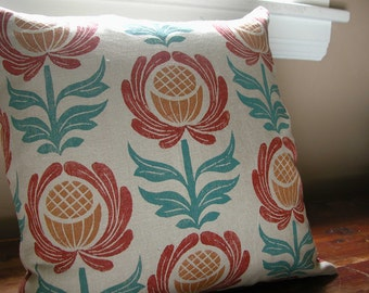 Folk Art Floral Home Decor linen pillow cover warm gray hand block printed colorful decorative