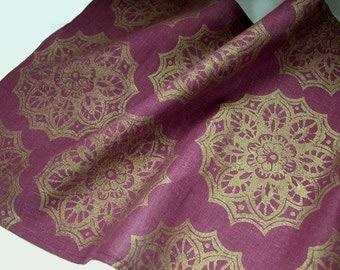 Port Wine Gold Lace Medallion hand block printed linen table runner