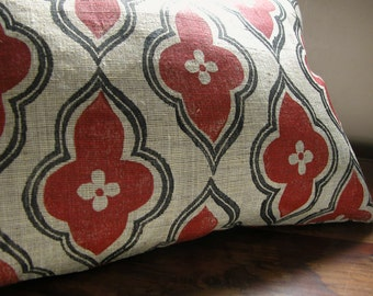 Home Decor russet and black ogee hand printed on light brown linen lumbar pillow case