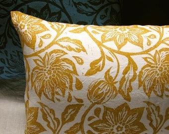 yellow ochre hand block printed  passion flower on white linen colorful decorative pillow cover choice of size