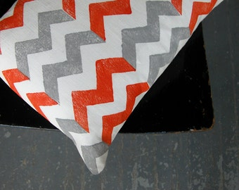 Tangerine and gray chevron hand block printed white linen decorative home decor colorful pillow case
