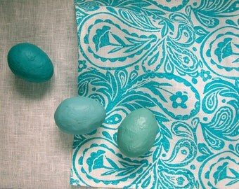 everyday turquoise blue paisley hand block printed on white linen napkins hostess gift set of 4