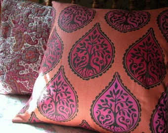 Black Red and Hot Pink Tree and Fern hand block printed tangerine colorful decorative home decor linen pillow case