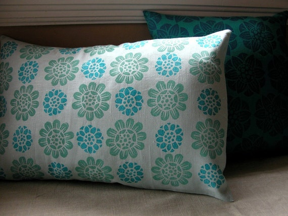 Aquamarine blue Water Lily hand block printed linen home decor colorful botanical linen decorative pillow cover