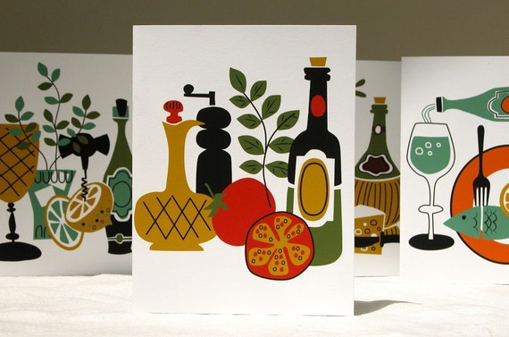 Alfresco Still Life food and wine, hostess gift colorful cards set of 8