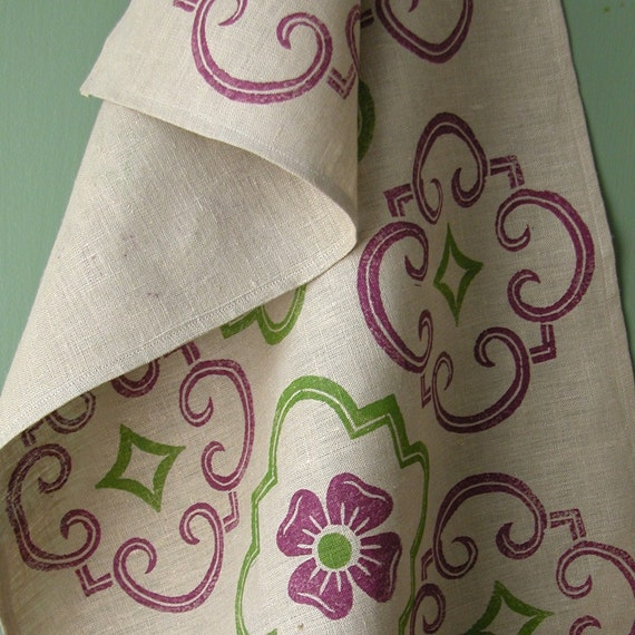 Cloisters Eggplant and Olive Green on Gray Linen Tea Towel