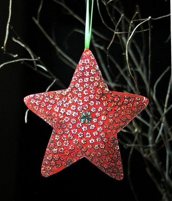 Sea Star Christmas holiday nautical home decor original art reproduction paper ornaments set of 8