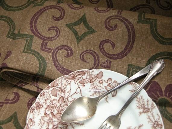 Tudor Rose hand printed linen napkins set of 6