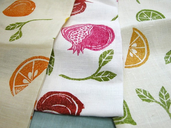 Mediterranean Fruit hand block printed linen tea towels hostess gift set of 3