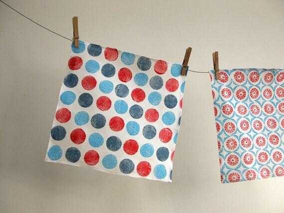 nautical brights chevron polka dot geometric red white blue hand block printed white linen handkerchief collection