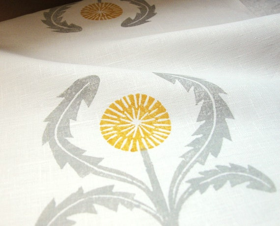 gray and yellow ochre on white dandelion hand block printed home decor linen napkins set of 4