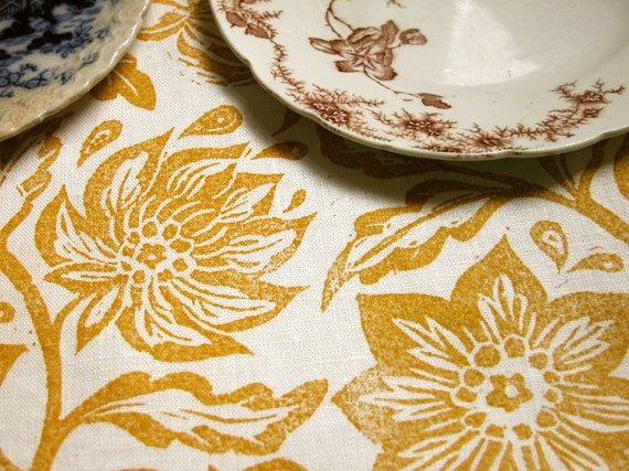 everyday yellow ochre on white passionflower hand block printed home decor linen napkins set of 4
