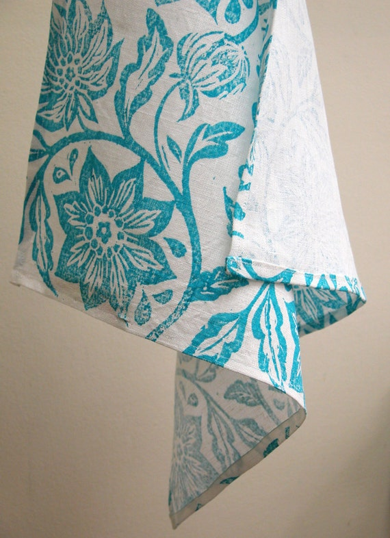 everyday turquoise passionflower on white linen napkins set of 4 summer home decor