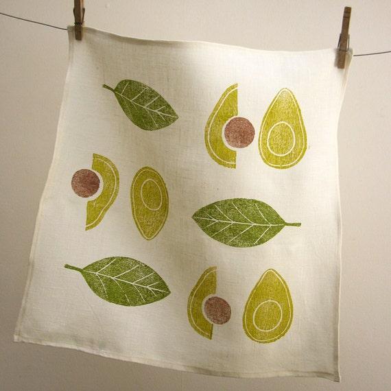 Avocado and olive green cream hand block printed linen retro modern botanical home decor housewarming hostess gift napkins set of 4