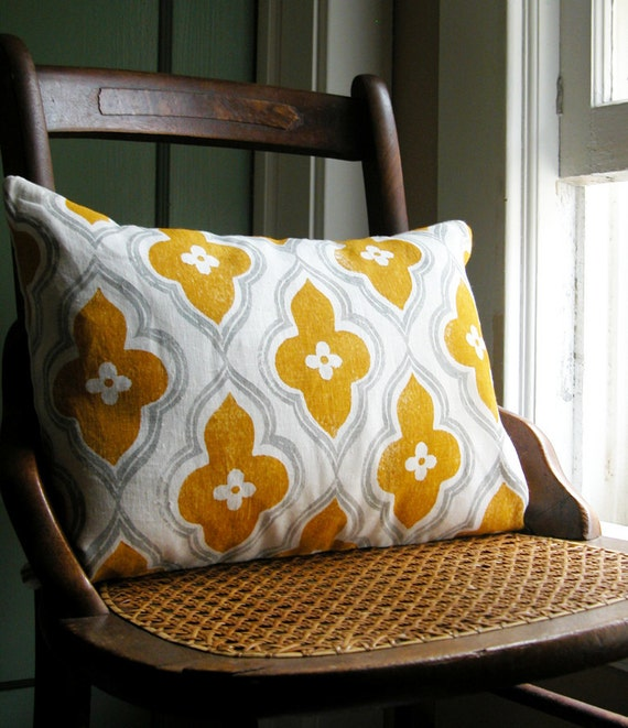 gray and yellow ochre ogee hand block printed on white linen lumbar pillow case