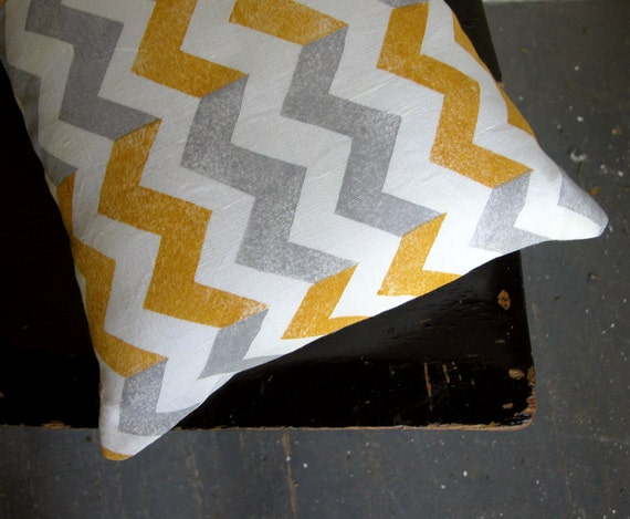 Yellow ochre mustard gray geometric chevron white linen pillow cover hand block printed decorative colorful home decor