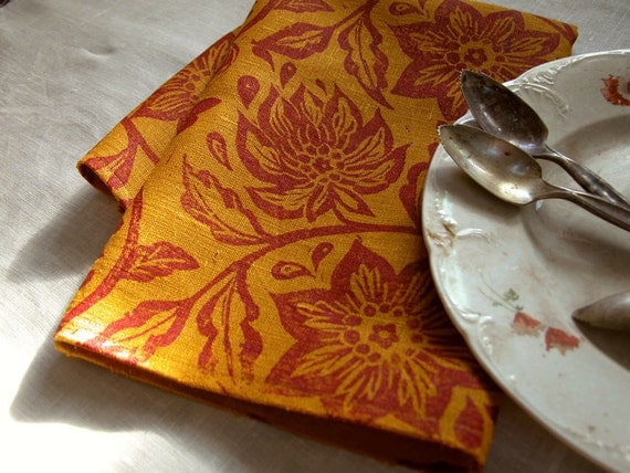 everyday magenta on saffron passion flower hand block printed linen napkins tropical floral home decor hostess gift set of 4