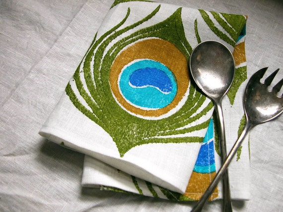Peacock Feather hand printed linen napkins set of 6
